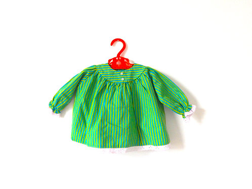 Vintage 60s Baby Girls Green Stripe Shirt 3 Month