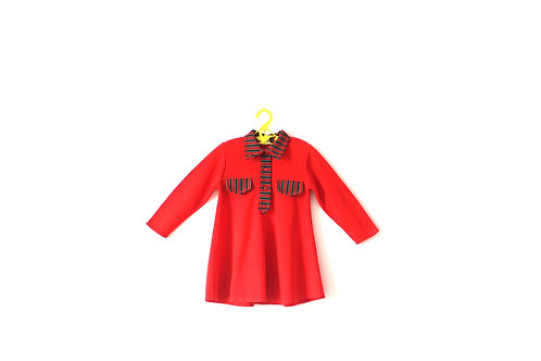 Vintage 1960's Mod Red Striped Dress 3-4 Years