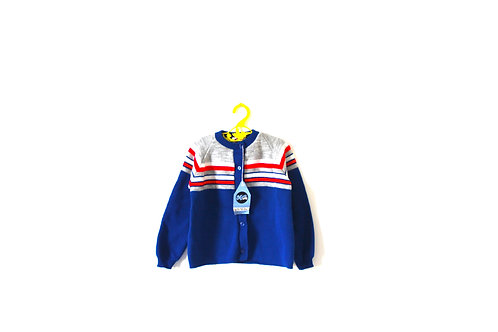 Vintage 1970's Red and Blue Mod Cardigan 4 Years