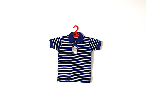 Vintage 1950's Blue Striped Polo T-shirt 5-6 Years