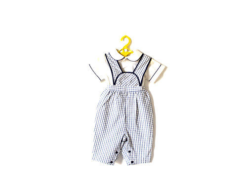 Vintage 60's French Checked Romper Dungarees with Peterpan Collared Shirt 12-18