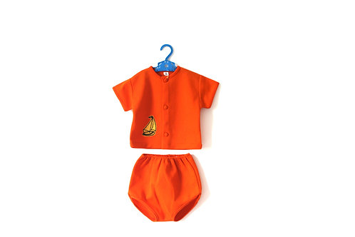 Vintage 1960's Boat Two Piece Orange Outfit 3 Years