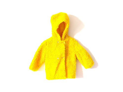 Vintage Yellow French 1960's Childrens Furry Winter Coat Hood 2-3 Years