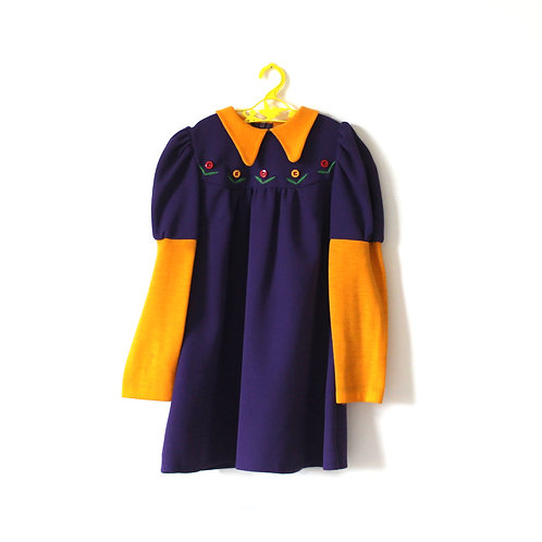Vintage 1970's Tick a Tee Purple and Yellow Dress 6-7 Years