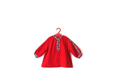 Vintage 1960's Girls Red Cordoroy Flower Dress 12 Months