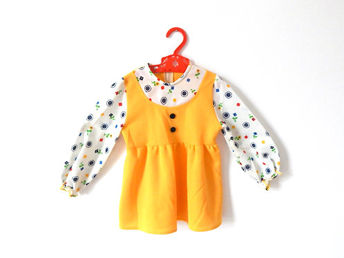 Vintage Girls Yellow Floral Mod Dress 2-3 Years