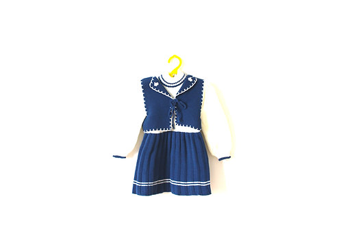 Vintage Blue Knitted Dress with Duck Buttons 12-18 Months