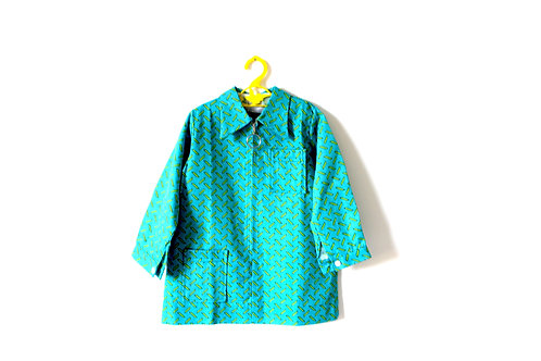 Vintage Bold Teal Girls 1960's Geometric Flick 4-5 Years 1960's