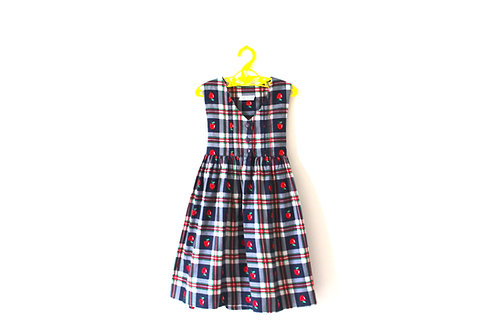 Vintage Apple Checked Girls Dress 3-4 Years