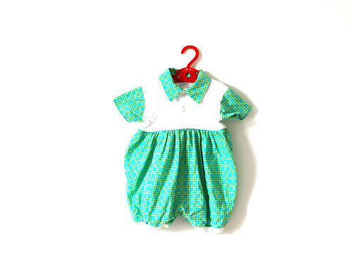 Vintage Checked Green Collar Romper 12 Months