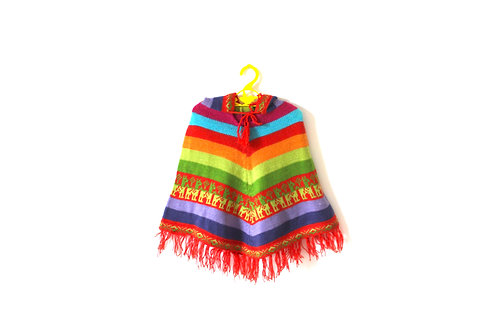 Vintage Multicoloured Patterned Poncho 3-4 Years