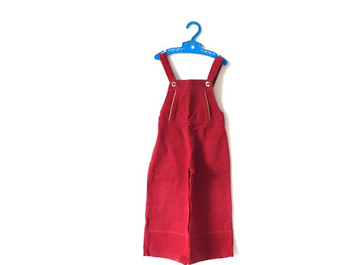 Vintage Red Denim Dungarees Silver Button 3 Years