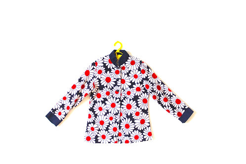 Vintage 1960's Floral Daisy Red Blue Dress 4-5