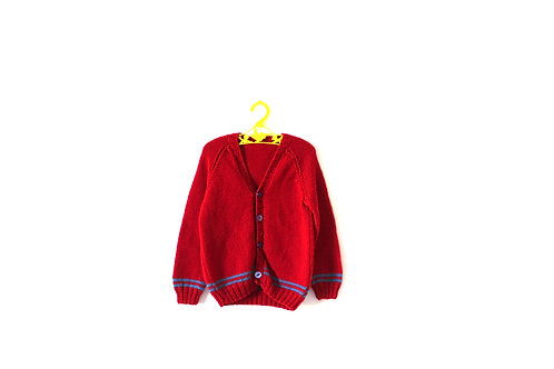 Vintage Handknitted Retro Red and Blue Cardigan 5 Years