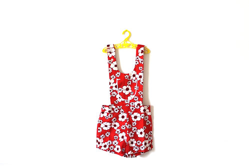 Vintage 1960's Red Pinafore Short Romper Summer Childrens Girls Vintage