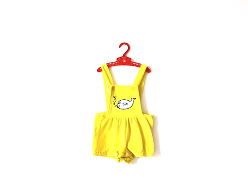 Vintage Yellow Kitsch Fish Childrens 1970's Summer Romper Towelling