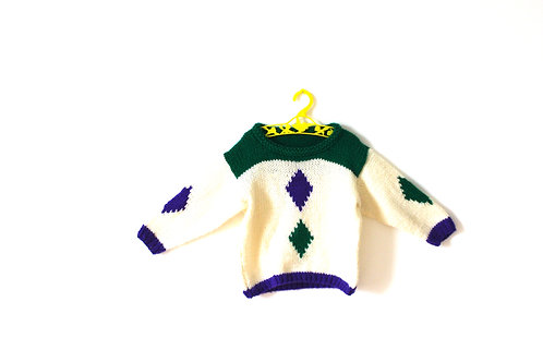 Vintage Pierrot Knitted Jumper Diamond Purple Green 4-5 Years