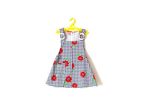 Vintage 1960's Mod Girls Dress Dogtooth Gingham 3-4 Years