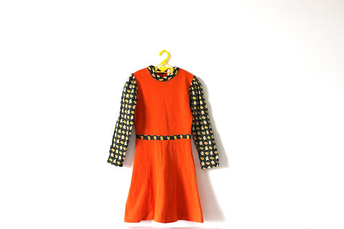Vintage 1970's Orange Autumnal French Floral Dress 5-6 Years