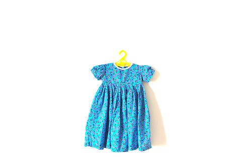 Vintage Blue Alphabet Number Dress 2-3 Years