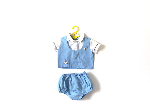 Vintage Baby Boat Two Piece Bloomers Blouse Childrens 3-6 Months