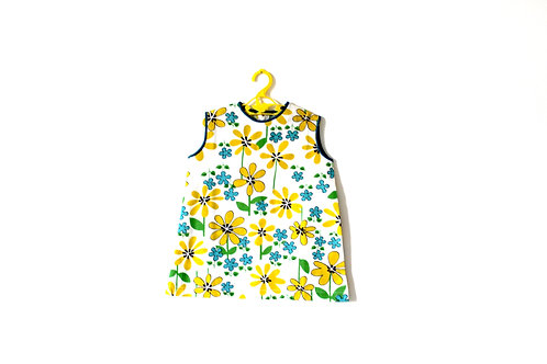Vintage 1960's Spring Flower Blue Yellow Dress 3-4 Years