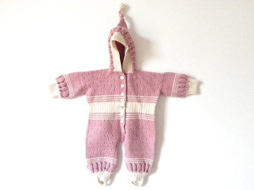 Vintage Baby Girls Wooly Pink Suit 6 Months