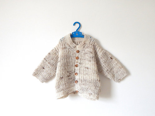 Vintage Beige Knitted Jumper Wooden Buttons Age 6