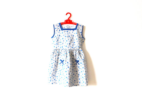 Vintage 1950's Spotty Patterned T Dress with Bow 4-5 Years