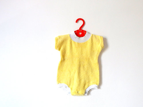 Vintage Yellow Ribbed Flannel Bodysuit 0-3 Months