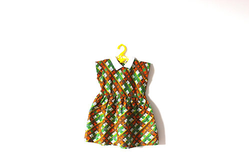 Vintage 1950's  Brown Green Orange Checked Dress with Collar 3-4 Years