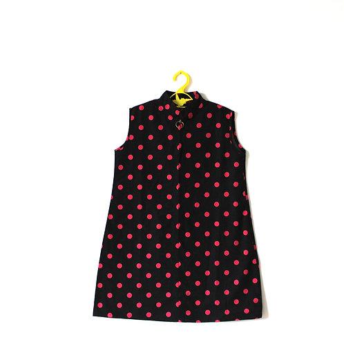 Vintage 1960's Spot Dress Pink Black 5-6 Years