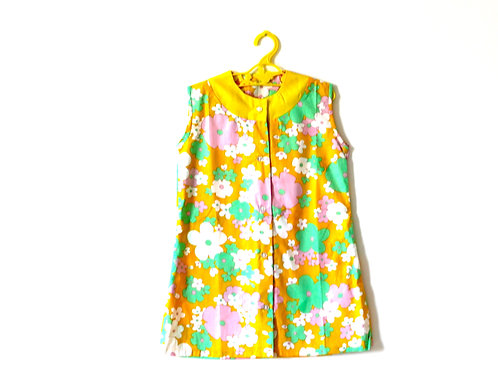 Vintage 1960's Girls Floral Yellow Daisy Dress 5-6 Years