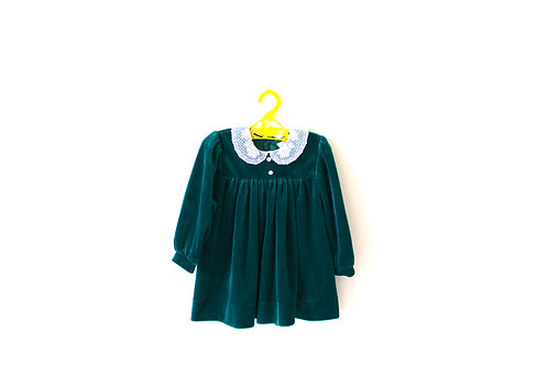 Vintage Velvet Green Dress Lace Collar 1-2 Years