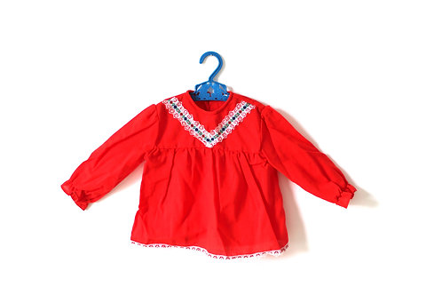 Vintage Red 1960's Girls Dress 12-18 Months