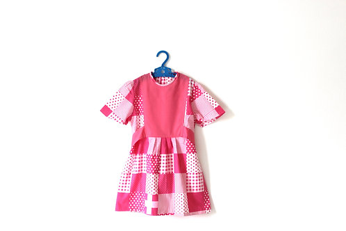 Vintage Pink 1960's Block Spotty Geometric Dress 5-6 Years