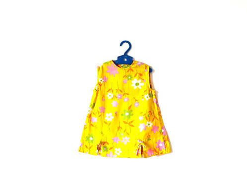 Vintage Yellow 1960's Floral Summer Dress 2 Years