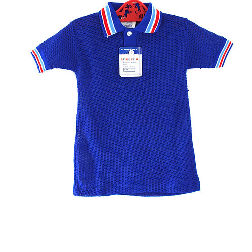 Vintage 1960's Polo Shirt 3-4 Years Blue with Red Stripes Short Sleeves