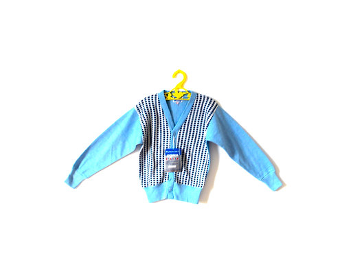 Vintage Blue Checked Cardigan with Original Tags 3-4 Years