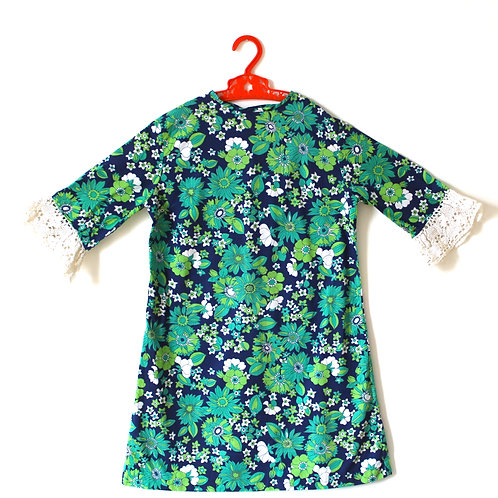 Vintage Girls 1960's Dress Floral Lace 6-7 Years