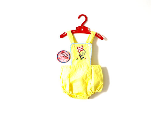 Vintage 1970's Yellow Chick Romper 12 Months