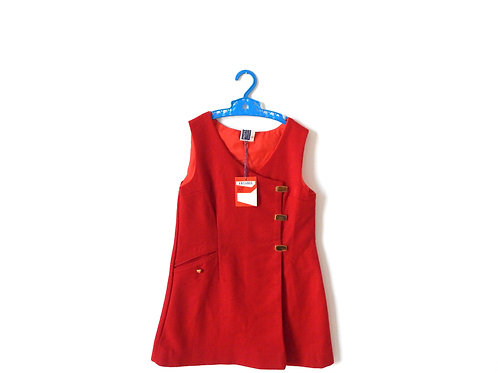 Vintage Red Mod Girls Pinafore Dress Age 6 Years