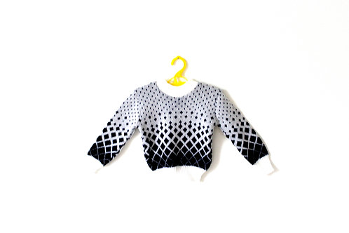 Vintage 1960's Patterned White and Navy Black Diamond Spot Jumper 1-2 Years