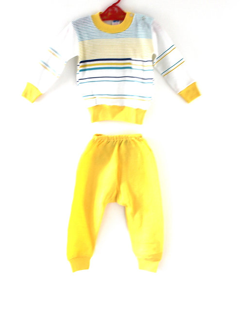 Vintage 1970's 3 Years Childrens Striped Casual Outfit Yellow Blue