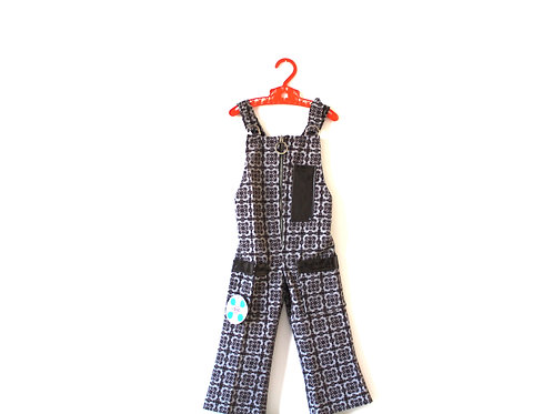 Vintage Pattern Brown/Grey 70's Dungarees 2-3 Yrs