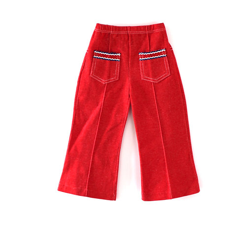 Vintage 1970's Red 2-3 Years Children's Unisex Trousers with Blue Trim