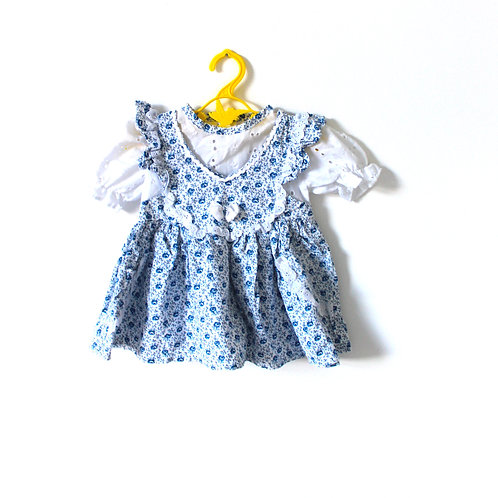 Vintage French Blue Anglaise Floral Dress 6 Months