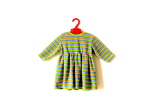 Vintage Ladybird Green Purple Striped Dress 3-6 Months