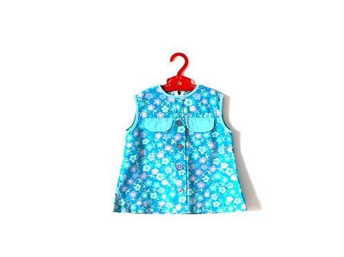 Vintage 1960's Blue Summer Floral Dress 1-2 Years