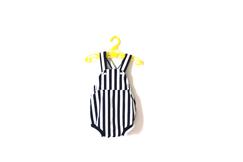 Vintage Blue and White Striped Romper 6 Months